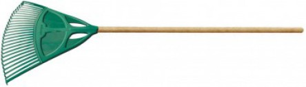 Plastic professional XL broom (flat rods) with wooden handle 130 cm