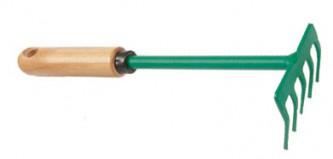 Small rake 5 teeth, wooden handle